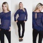 blusa de gasa escoses azul Tramps invierno 2014