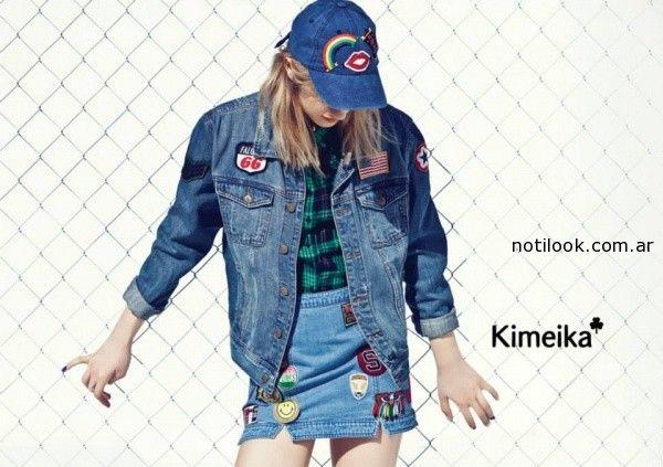 campera y falda de jeans Kimeica invierno 2014