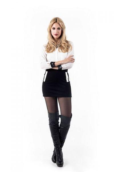 mini falda negfra cond etalles en blanco Activity Pret a Porter invierno 2014