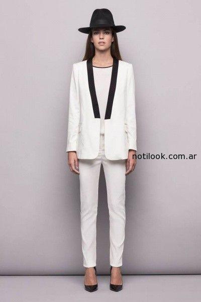 traje mujer blanco  invierno 2014 Awada