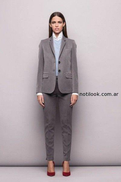 traje mujer gris  invierno 2014 Awada