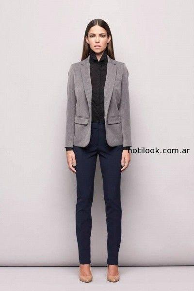 traje mujer saco gris  invierno 2014 Awada