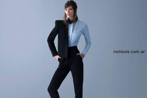 traje para mujer negro pantalon tiro alto Awada invierno 2014