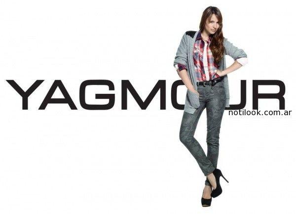 camisa escocesa y jean con estampa Pampita Yagmour invierno 2014