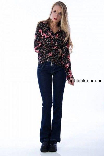 camisa floreada con jeans oxford Af jeans invierno 2014