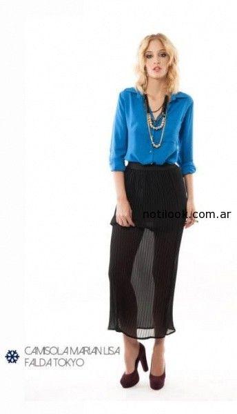 camisa y falda larga gasa negra Indiga invierno 2014