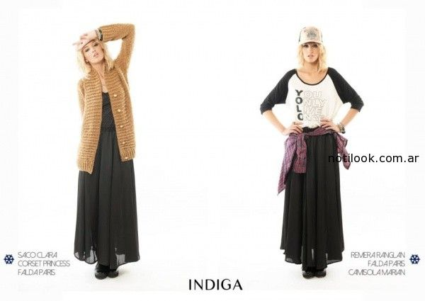 camisola y saco falda larga gasa negra Indiga invierno 2014