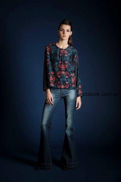 jeans y blusa mangas largas Leandro Dominguez Invierno 2014