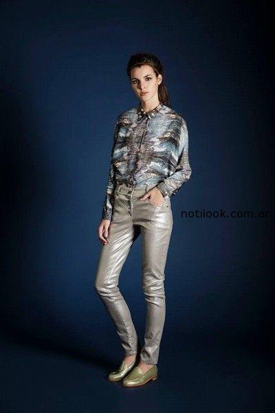 pantalon metalizado con camisa Leandro Dominguez Invierno 2014