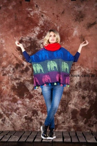 poncho animales tejido invierno 2014 by Agustina Saquer