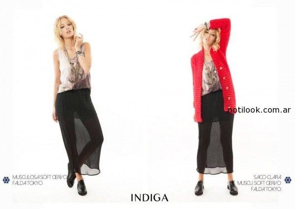 remera estampada con falda larga gasa negra Indiga invierno 2014