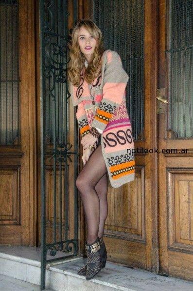 saco tejido gris y rosa Enriquiana tejidos otoño invierno 2014