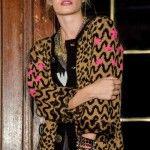 saco tejido negro y camel Enriquiana tejidos otoño invierno 2014