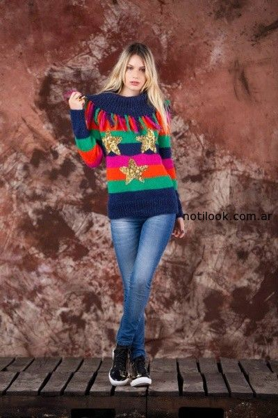 sweater a rayas tejido invierno 2014 by Agustina Saquer
