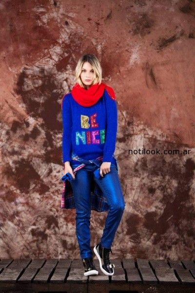 sweater con frases tejido invierno 2014 by Agustina Saquer