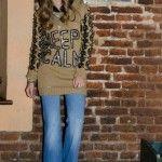 sweater tejido con estampa de letras Enriquiana tejidos otoño invierno 2014