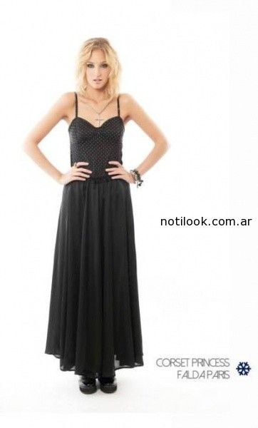 tops falda larga gasa negra Indiga invierno 2014