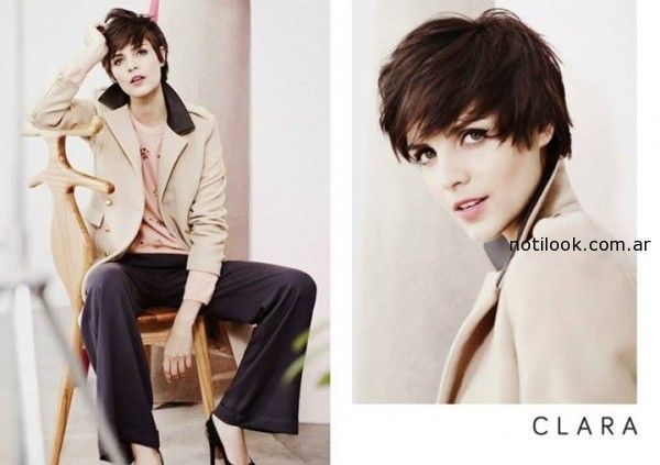 trapado crema con pantalon azul Clara Ibarguren otoño invierno 2014