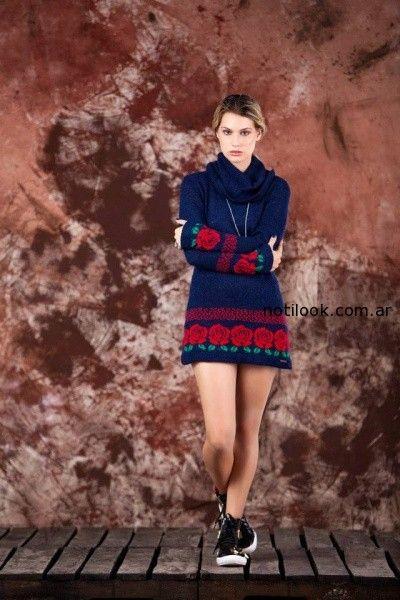 vestido azul tejido invierno 2014 by Agustina Saquer