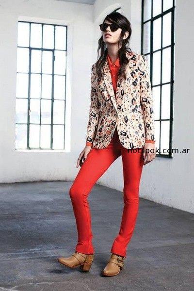 pantalon chupin rojo invierno 2014