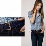 camisa estampado azul con jeans invierno 2014 Giesso