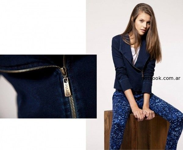 pantalon estampa azul invierno 2014 Giesso