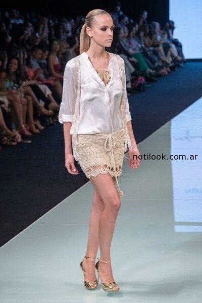 falda tejido artesanal AgostinaBianchi verano 2015