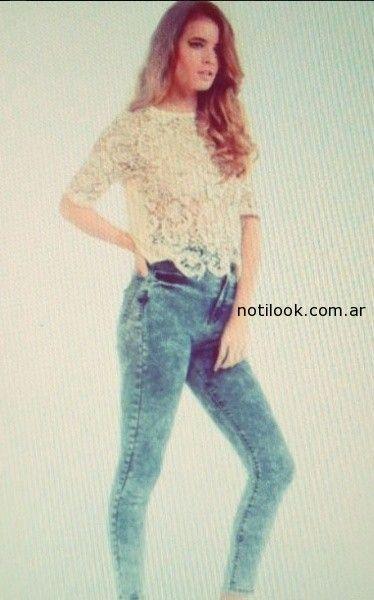 remera encaje y jeans Nare primavera verano 2015