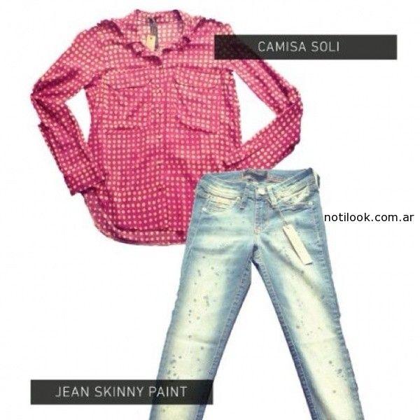 camisa a lunares femenina verano 2015 desvio jeans