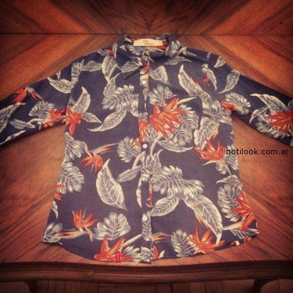 camisa estampada desvio jeans verano 2015