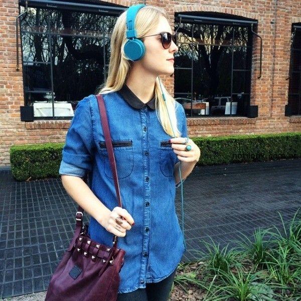 camisa jeans detalles en negro Kosiuko verano 2015