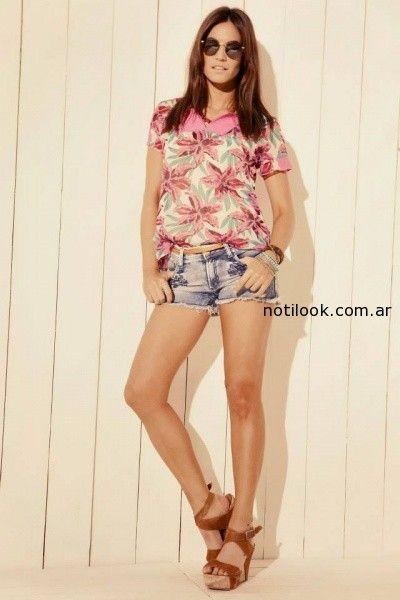 blusa estampa tropical y short Kevingston mujer verano 2015