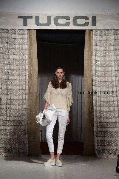 blusa y pantalon blanco Tucci verano 2015