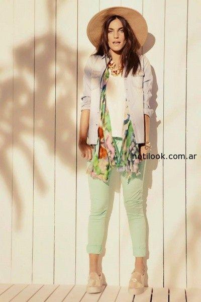pantalon color y camisa Kevingston mujer verano 2015