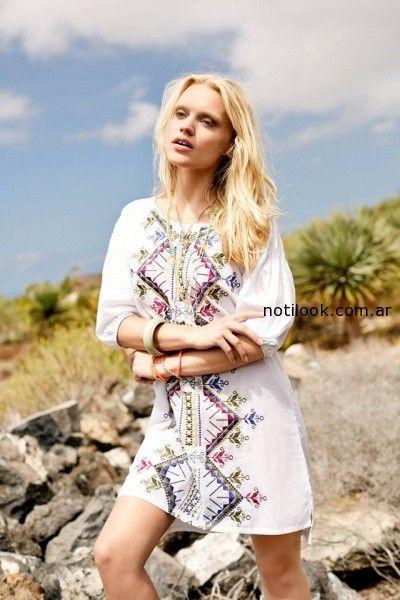 vestido bordado para playa  India Style primavera verano 2015