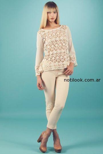 blusa de guipur mangas  largas sarawak
