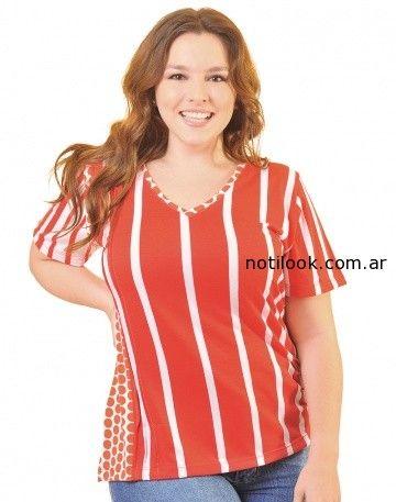 blusas con estampas combinadas talles grande portofem