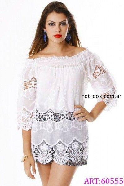 camisola blanca con guipur verano 2015 vars