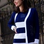 sweater y cardigan en blanco y azul di madani sweaters