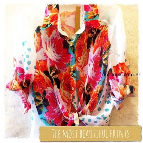 camisa estampas combinada  floral monica acher
