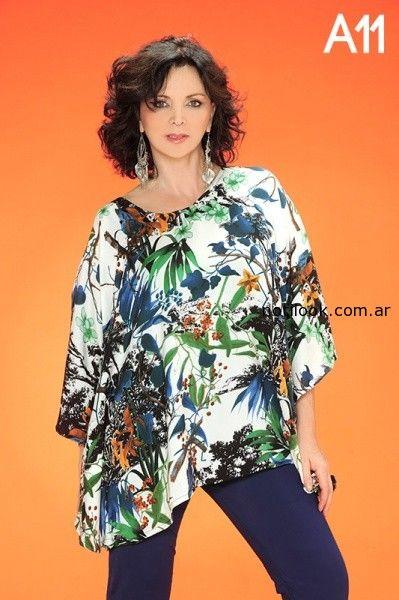 blusas talles grandes estampadas loren