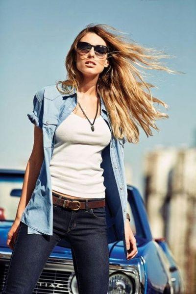 canisa de jeans Wrangler mujer