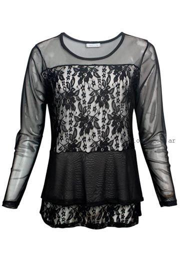 blusa con encaje talles grandes syes invierno 2015