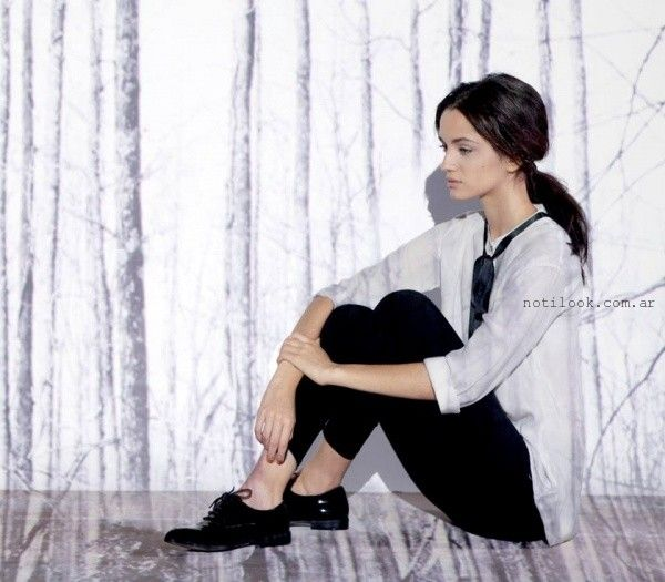 camisa balnca y chupin negro - Moda Urbana - Nucleo invierno 2015