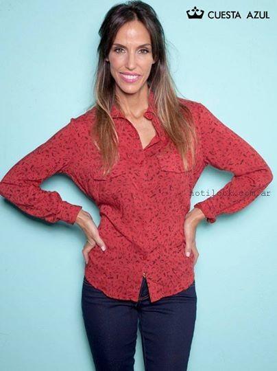 camisa roja invierno 2015 cuesta azul