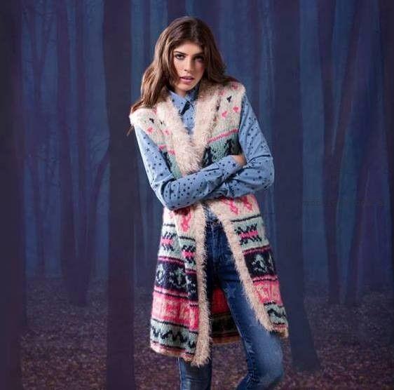 chaleco largo tejido - Agustina Saquer invierno 2015