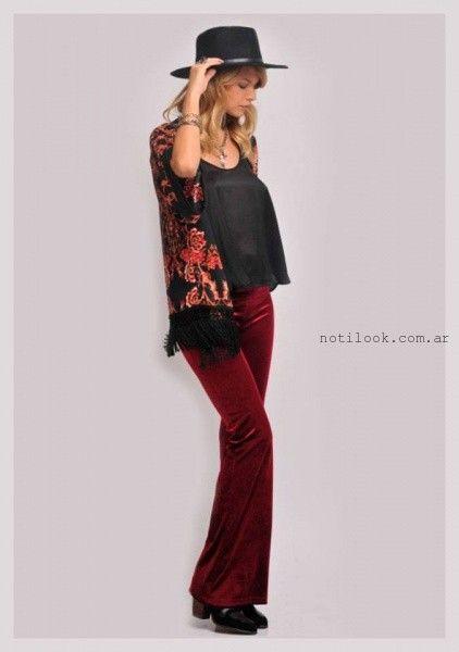 pantalon terciopelo bordo ZHOUE otoño invierno 2015