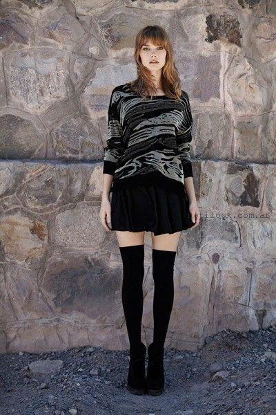 pollera corta con sweater tejido India Style invierno 2015