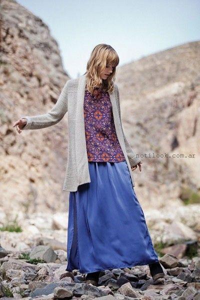 pollera larga azul India Style invierno 2015