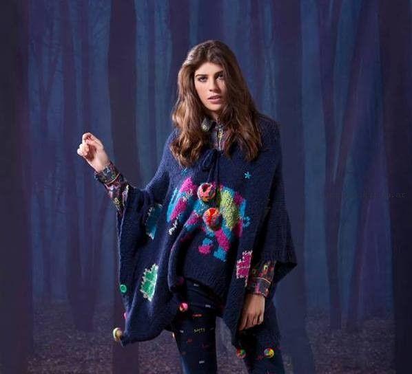poncho tejido - Agustina Saquer invierno 2015